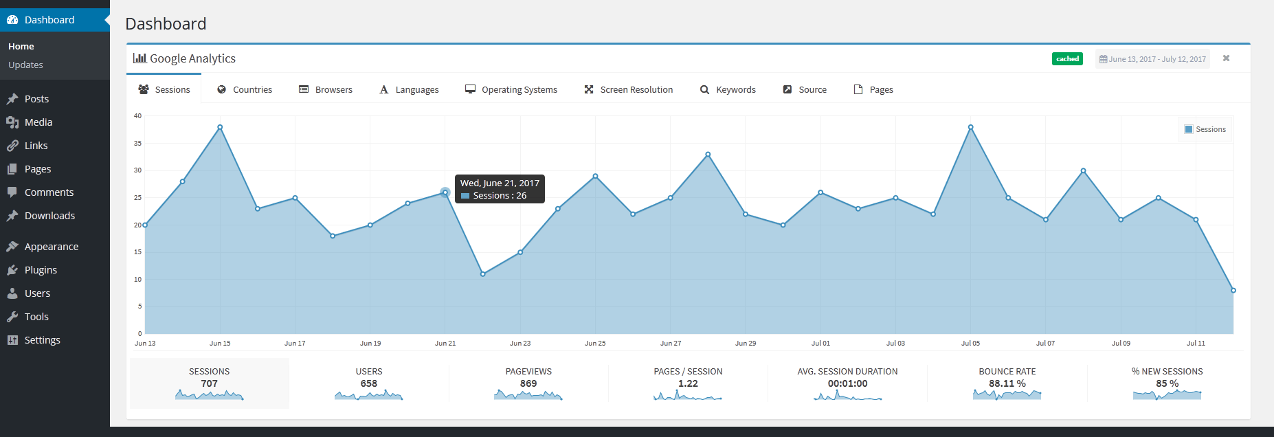 google analytics widget for wordpress